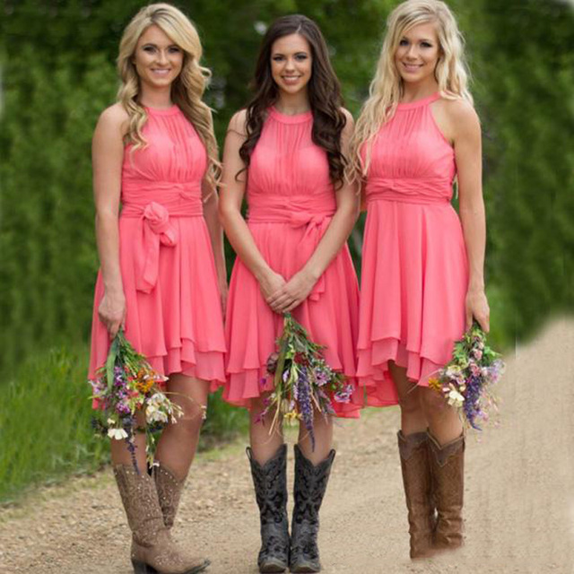 9949645208 2016 Country Bridesmaid Dresses Short Cheap Coral Royal Blue Halter Hi Low  Rural Maid of Honor Gowns For Weddings with Sash