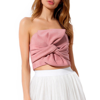 New Spring Summer Women Solid Color Sexy Strapless Butterfly Knot Crop Tops Pink Grey Suede Shirt