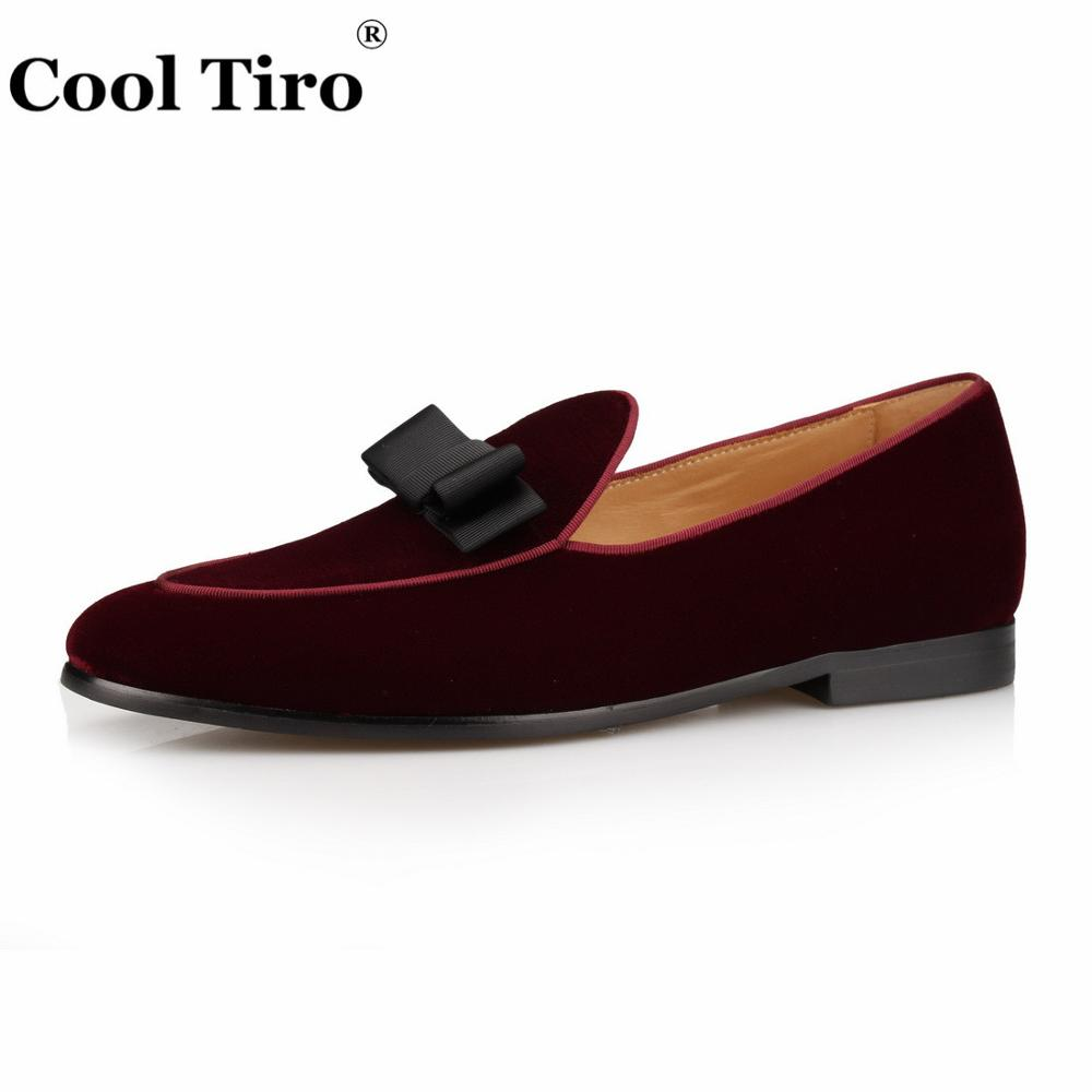 a2619625d6 US $69.24 40% OFF|Burgundy Velvet Loafers With Bow Moccasins Men Slippers  Wedding Men's Dress Shoes Gentlemen Casual Flats Genuine Leather Classic-in  ...