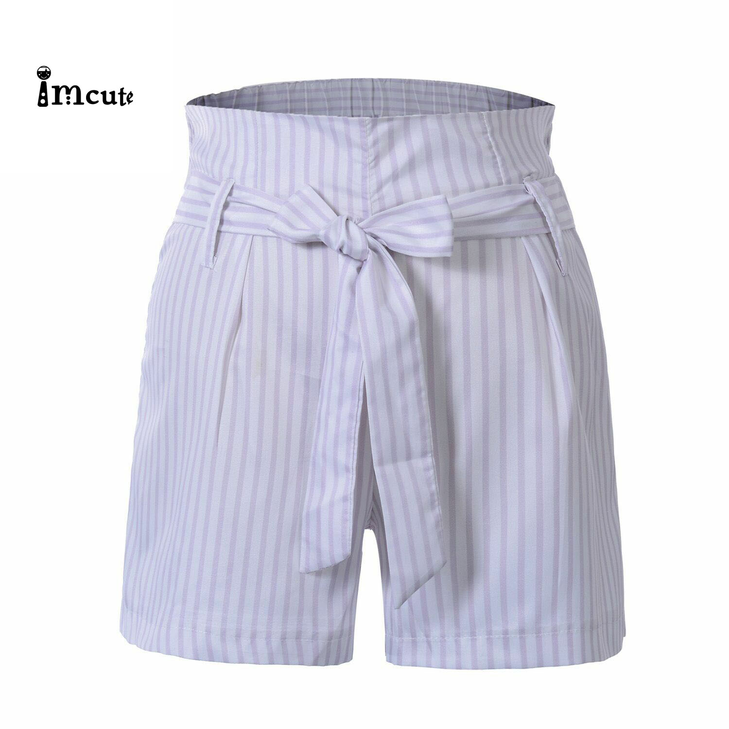 Women New Fashion Holiday Lace Up Bandage Ladies   Shorts   Hot Summer Casual Loose   Shorts   Bow Beach High Waist Striped   Short