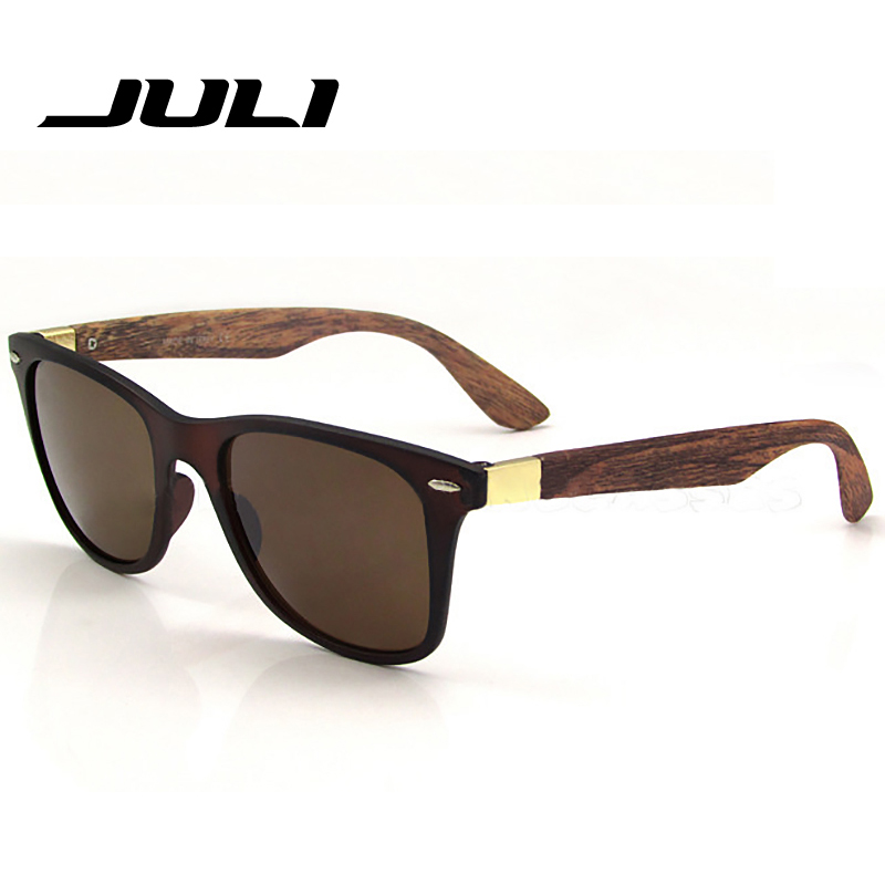 6a800577fe JULI Mens Womens Fashion Retro Wood Sunglasses Wood Bamboo Sunglass 52MM  Brand Design Travel Goggles Gafas