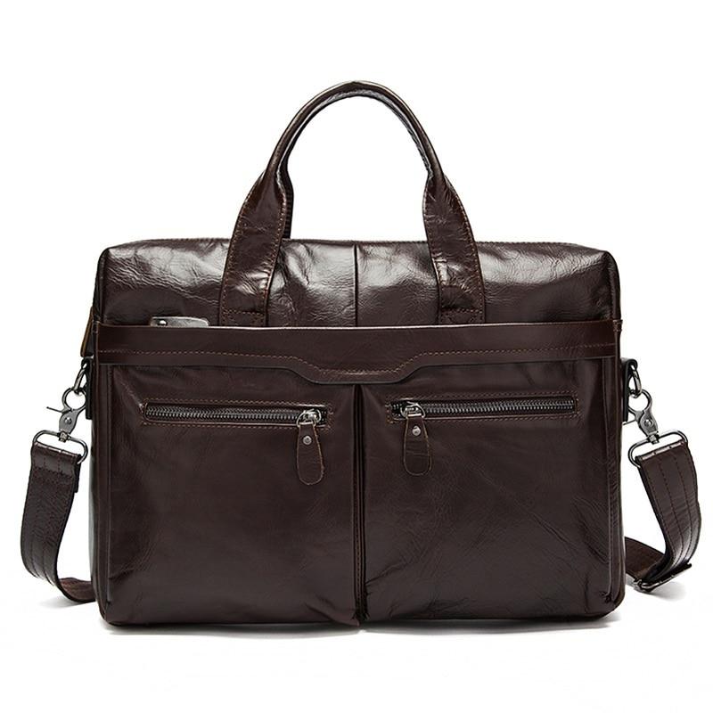 Brand Business Real 100% Cow Genuine Leather Laptop Bag 14 inch for men Shoulder Bag bolsa maleta Simple Famous 2018 Black Brown famous brand bag 100
