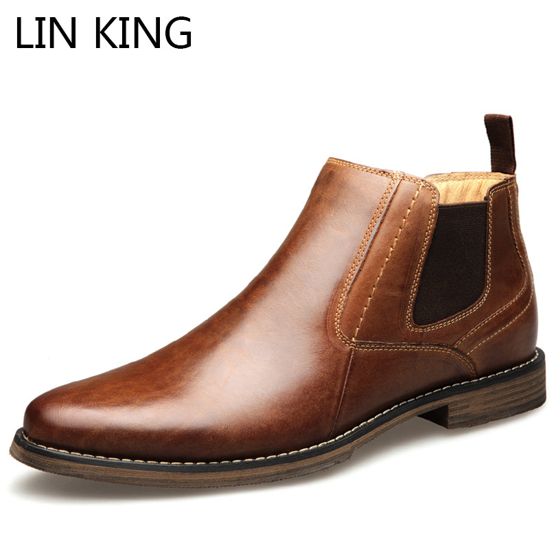 LIN KING Top Quality British Men Boots Spring Autumn Shoes Fashion Slip On Boots Breathable Genuine Leather Male Botas Hombre