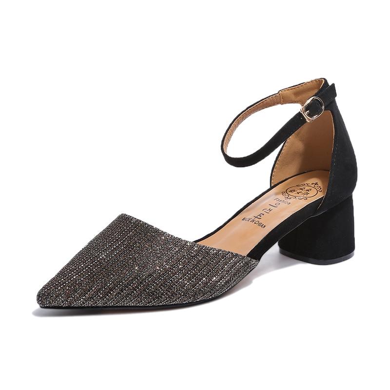 Musim Panas Gaya wanita Pergelangan Pergelangan Kaki persegi heels - Sepatu Wanita - Foto 1