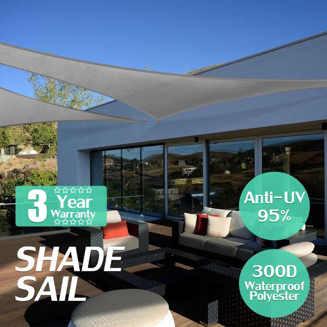 Grey 160GSM HDPE Farbic Triangle Retractable Sun Shade Shelter Waterproof  Outdoor Garden Awning Canopy Sunshade