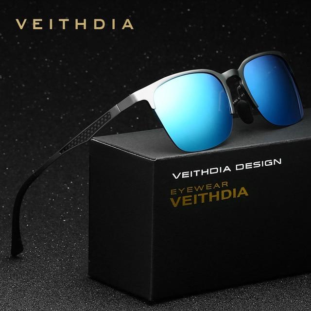 Gafas de sol polarizadas de aluminio y magnesio veithdia hombres deportes gafas de sol retro gafas de sol sin montura masculina vidrio gafas de sol de conducción de la vendimia