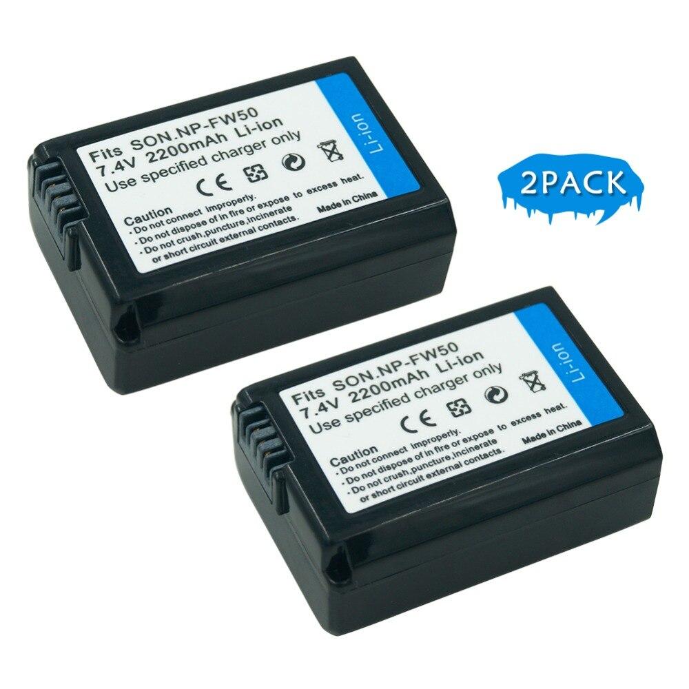 7,4 V 2200 mAh NP-FW50 NP FW50 NPFW50 batería de reemplazo de la cámara para Sony Alpha 7R a7R 7 s a7S a3000 a5000 a6000 NEX-5N 5C A55