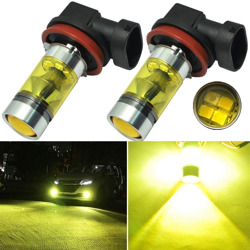 2 Pcs High Power Car Fog Lights Lamp 2835 20SMD Daytime Running Auto Leds Bulbs Car Light Yellow Color Bulbs