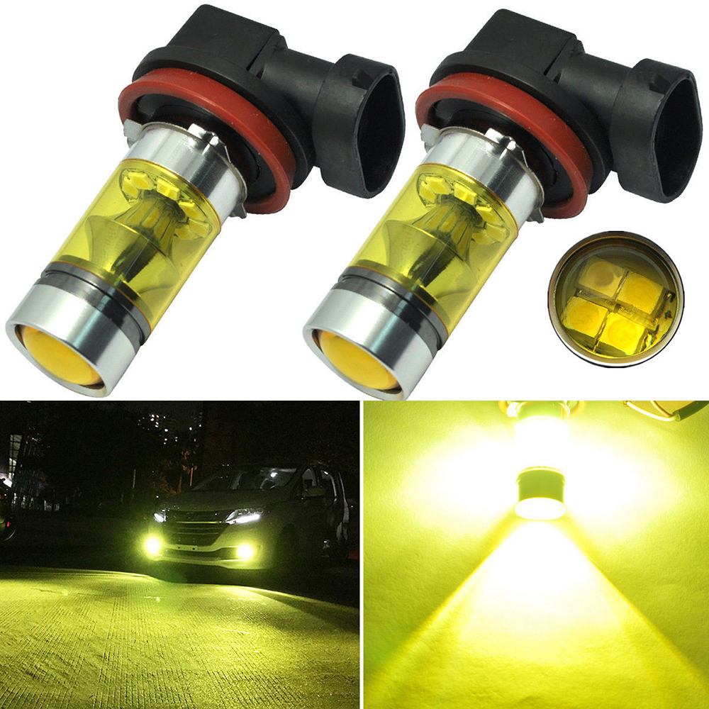 2 Pcs Yellow Car DRL Fog Lights Headlights 4300K 1000LM H8/H9/H11 Connect DRL Lamp Bulbs Car Accessories