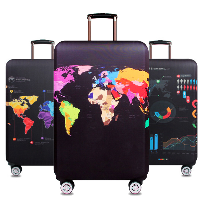Mapa del mundo equipaje de viaje maleta cubierta protectora carretilla bolsa de equipaje cubierta gruesa elástica de las mujeres de los hombres para la maleta 272