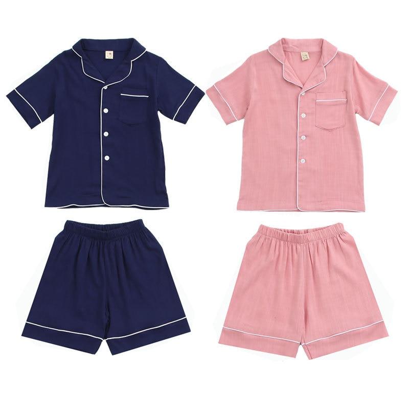 Children Summer Clothing Pajamas Sets Tops Shorts 2Pcs Cotton Linen Baby Boys Girls Sleepwear Soft Fashion Unisex Kids Outfits