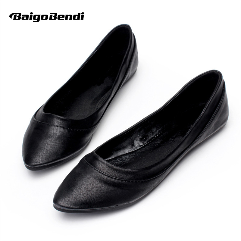 US5-9 Fashion Soft PU Leather Woman Shallow Flats Comfort SLIP-ON Loafer Ladies Ballerina Shoes Pregnant woman
