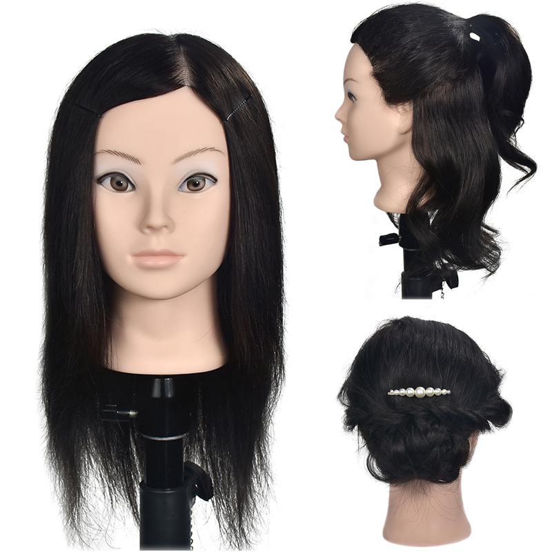 Professional practice Hairdressing mannequin dolls Styling maniqui training heads with 1000% real human hairs can be curledProfessional practice Hairdressing mannequin dolls Styling maniqui training heads with 1000% real human hairs can be curled