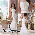 Fashion New Arrival vestido de noiva 2015 Scoop Lace Beading Zipper Back Chapel Train Romantic Mermaid Wedding Dresses