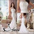 La moda de nueva llegada vestido de noiva 2015 Scoop Lace rebordear cremallera volver tren capilla sirena romántica