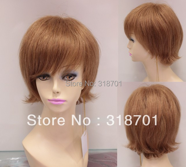 ФОТО wig humanhair Light Auburn HumanHair Straight about about 8 Inches Cheap hair Wig (Free Shipping)
