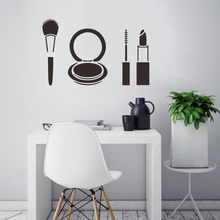 Wall Decor Sticker Fashion Lipstick Makeup Vinyl Wall Stickers Woman Girls Bathroom Decoration Waterproof Beauty Salon Decals(China)