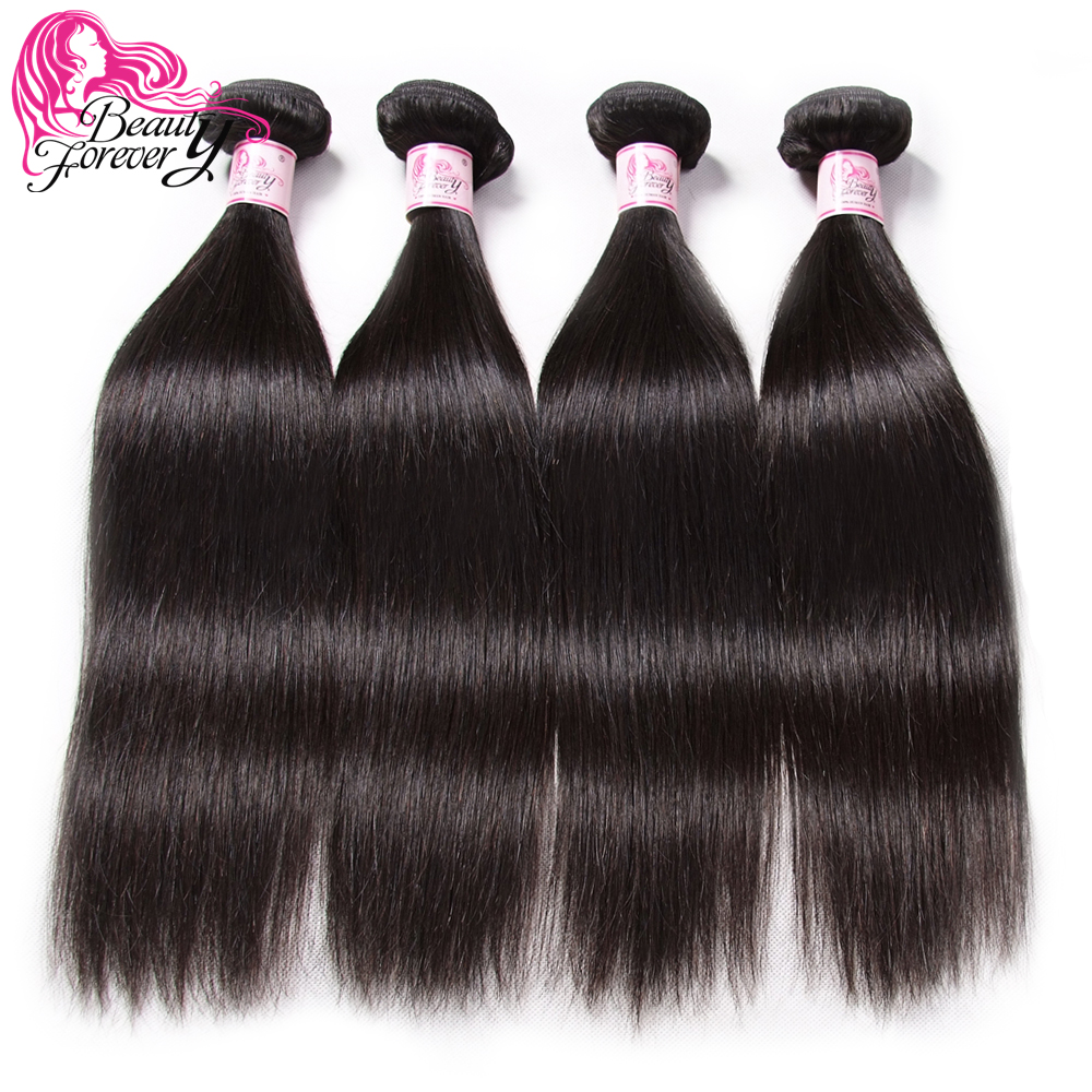 BEAUTY FOREVER Brazilian Straight Hair 4 Bundles 100 Human Hair Extension Natural Color Remy Hair Weaves