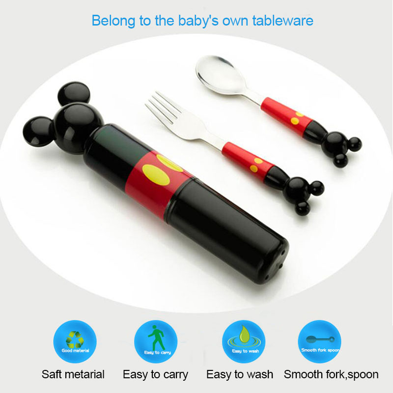Children stereo mickey head stainless steel fork portable baby boxed set tableware consisting training Fork Spoon Set in Dinnerware Sets from Home Garden