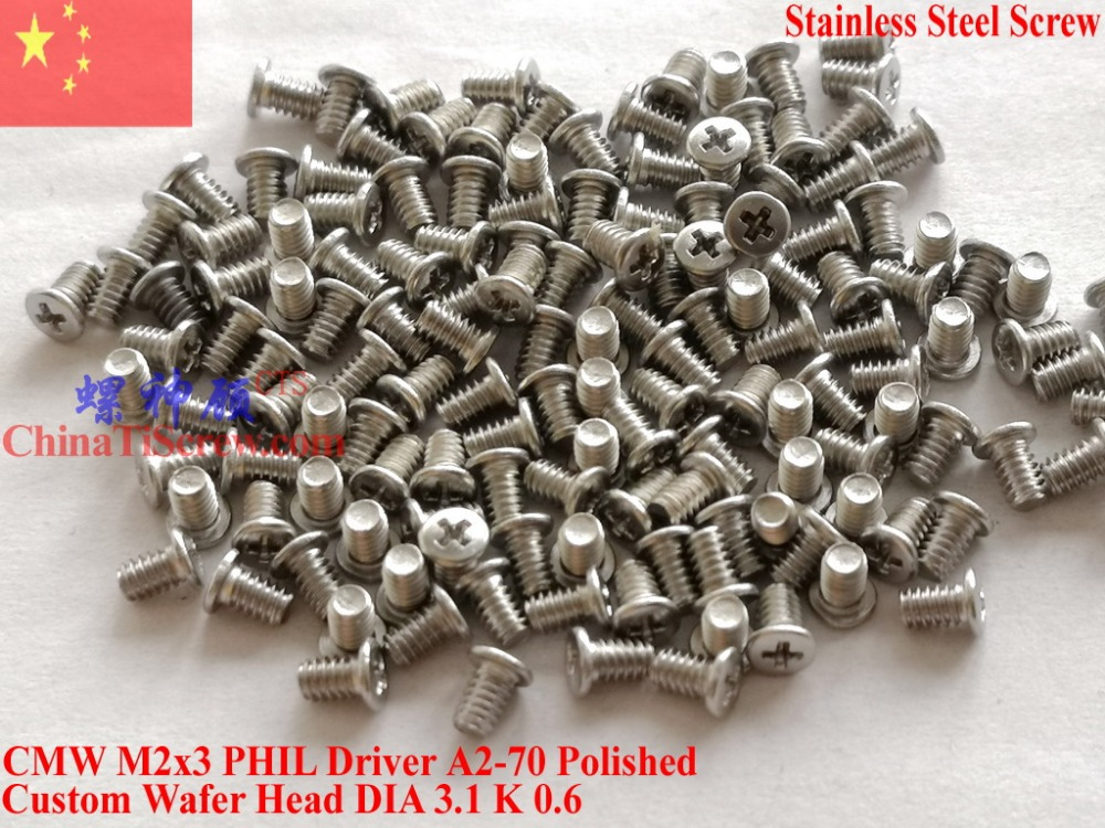 Stainless Steel <font><b>screw</b></font> <font><b>M2x3</b></font> Wafer Head Phillips driver Polished ROHS 100 pcs image