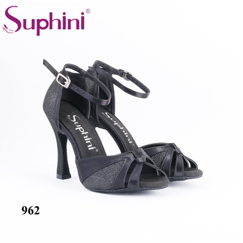 Latin Salsa Dance Shoes High Slim Heel  Bowknot Strap Soft Insole Latin Dance Leather Outsole Professional Dance Shoe