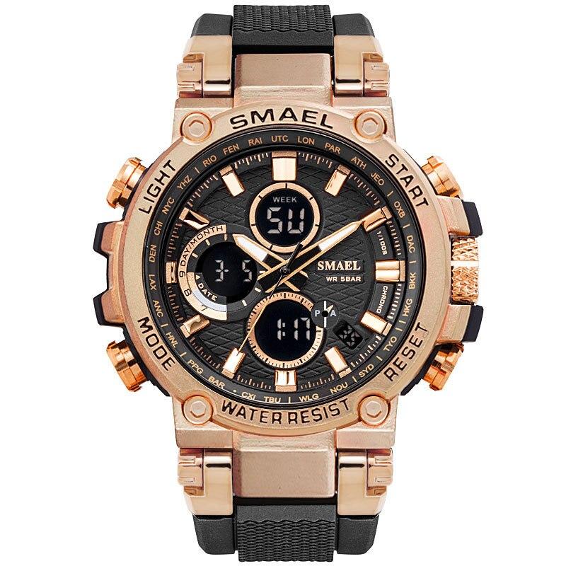 Nova Moda Smael Relógio Mens Relógios Dual Display Analógico Relógio Digital de Mens Sports Relógios de Ouro Relogio masculino Reloj Hombre