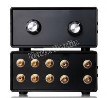 Mini Stereo 4 IN 1 OUT RCA Signaalingang Audio Splitter/Switcher Volume Controler Passieve Voorversterker