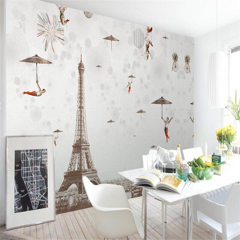 beibehang Custom 3d wallpaper Nordic simple Eiffel Tower ...  beibehang Custo...