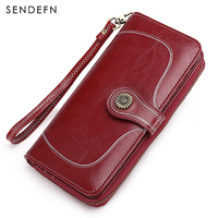 Sendefn New Arrival Quality Wallet Large Capacity Long Women Wallet Zipper Button Purse Split Leather Women