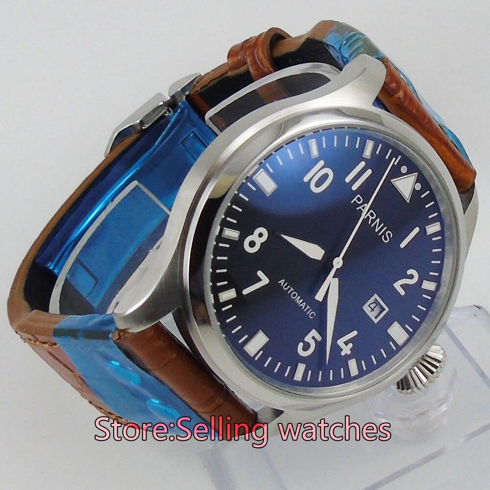 47มิลลิเมตรp arnisสายสีดำบิ๊กมงกุฎวันที่เคลื่อนไหวอัตโนมัติmens watch-ใน นาฬิกาข้อมือกลไก จาก นาฬิกาข้อมือ บน   1