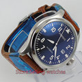 47mm parnis black dial big crown date automatic movement mens watch