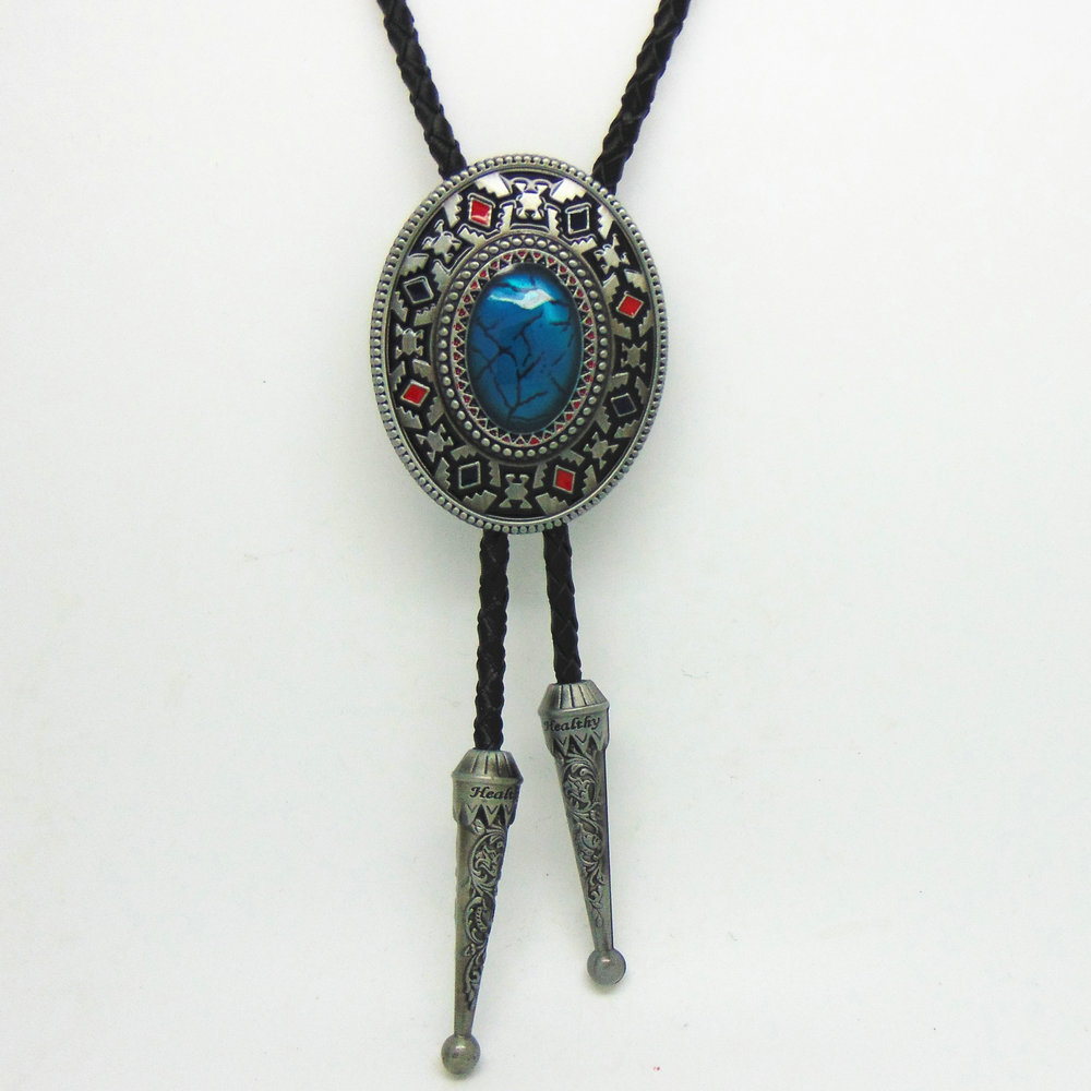 Handmade Southwest Totem Aquamarine Western Cowboy Bolo Tie For Shirt Necktie Metal Necklace Jewelry