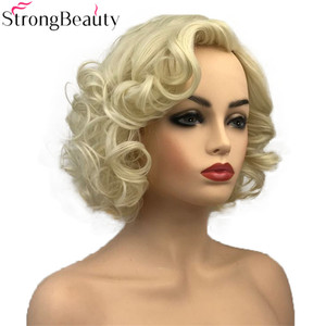 Image 2 - StrongBeauty Short Curly Synthetic Wigs Heat Resistant Blonde Hair Women Wig