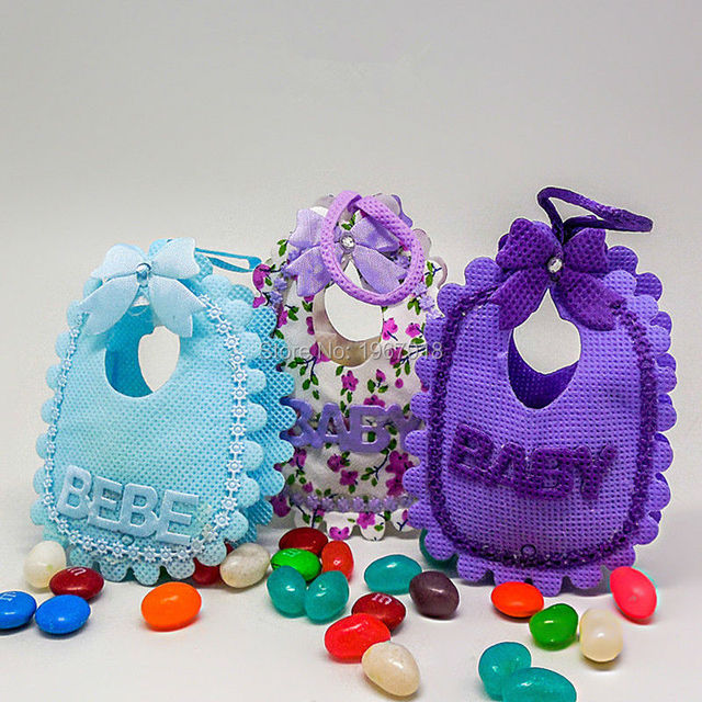 24pcs/lot Adorable Baby Bibs Candy Bags Baby Shower Decoration Favor Gift  Birthday Baptism Party