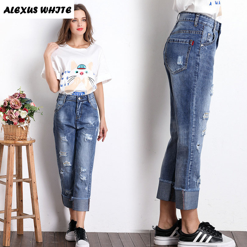 Boyfriend Ripped Jeans Women 2017 Summer Ankle-Length Straight Denim Pants for Woman Loose Hole Beggar Trousers Washed boyfriend jeans women ankle length washed denim summer vintage hole ripped letter embroidery harem pants female casual streetwea