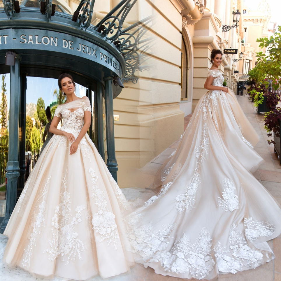 lace ball gown short sleeve wedding dress