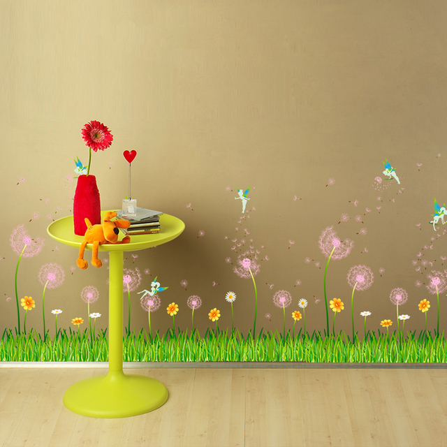 SHIJUEHEZI] Wall Stickers Dandelion Bedroom Decoration Green Grass ...