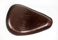 Motorcycle Rustic Retro Style Brown Flame Leather SOLO Saddle Seat For Harley Honda Yamaha Suzuki