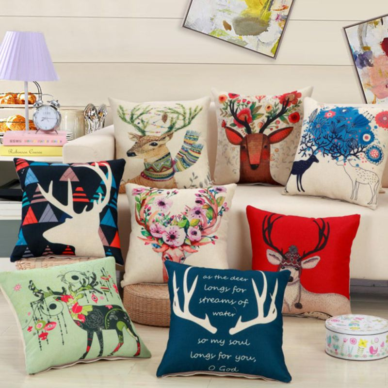 retro de los ciervos de la navidad impresa algodn funda de almohada decoracin del hogar del