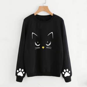 Women Sweatshirts Crop-Top Hoodie Autumn Cat Plus-Size Long-Sleeve Winter Regular