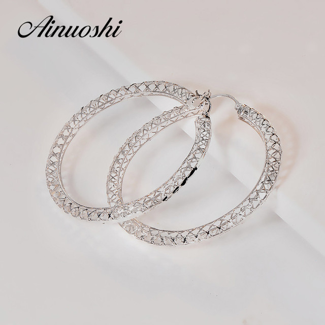 Lucury Classic Simple Design Hoop Earrings 925 Sterling Silver Large
