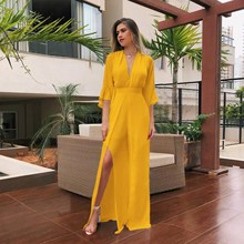 2019 Women V-neck Chiffon Jumpsuit One Piece Overalls Ladies Casual Romper Summer Sexy