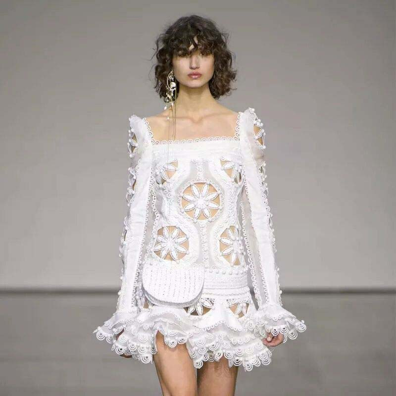 summer runway dress elegant white floral embroidery hollow out ruffle high waist lace mini Trumpet / Mermaid party dress 2018 2017 autumn designer runway style party lace women allover hollow out lace embroidery long sleeve dark blue mermaid dress festa