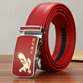 Men's red belt male leather automatic year of fate buckle red chicken lady married male extension belt