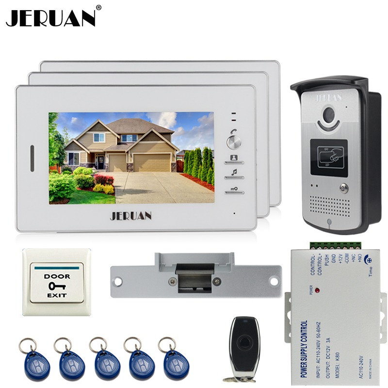 JERUAN 7 inch LCD color screen video door phone intercom system kit 3 monitor waterproof 700TVL RFID Access IR Camera In stock rfid keyboard ip65 waterproof video doorphone intercom system for 3 apartments with 7 color lcd video intercom system in stock