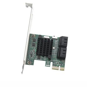Image 1 - HDD SSD Adapter PCIE PCI Express 1x to 4 Port Sata 3.0 6Gbps Converter Card Adapter Expansion Board Heatsink Low Profile Bracket