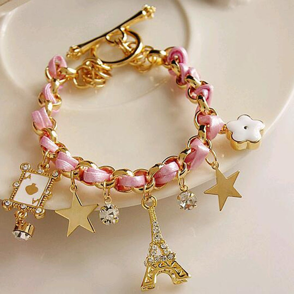 Vienkim New Hot sell  Fashion Jewelry Multielement Gold Chain Leather Rope Crystal Handmade Bracelet Eiffel Tower Star Pendant 5