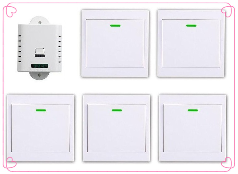 AC85V 110V 220V 240V 1CH Remote Switch Receiver 5 Wall Transmitter Wireless Power Switch 315MHZ Radio