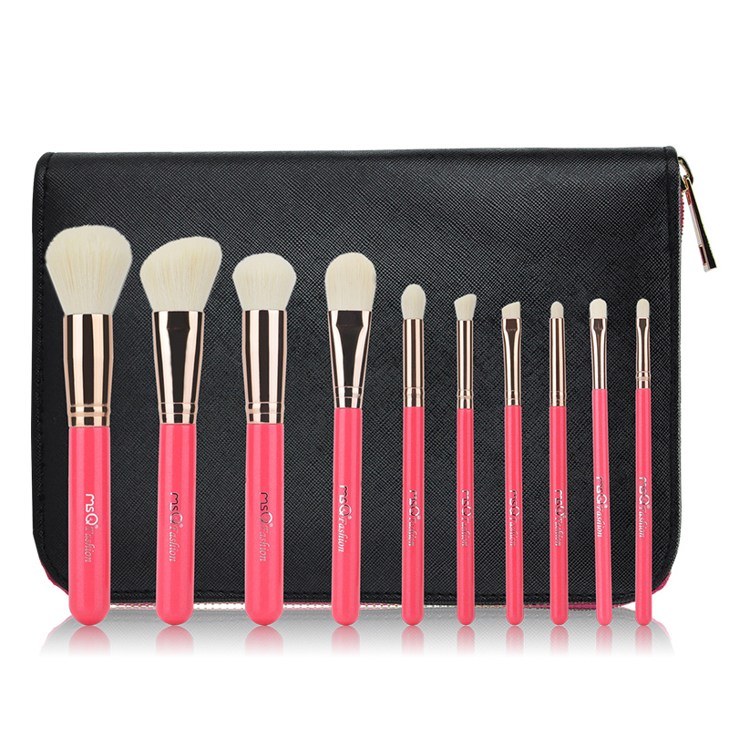New Arrival 10pcs Makeup Brushes Set Pink Cosmetics Foundation Bamboo Make Up Brush Tools Kit for Powder Blusher 24pcs makeup brushes set cosmetic make up tools set fan foundation powder brush eyeliner brushes leather case with pink puff