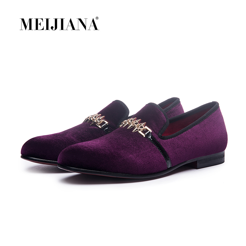Man shoes luxury 2019 loafer man shoes Purple metal buckle man shoes brand leather